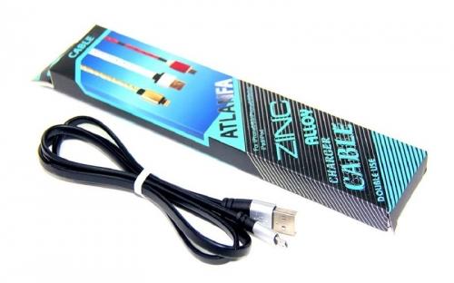 Кабель Micro металлический (резиновый,плоский) ATLANFA AT-700V  KB-346