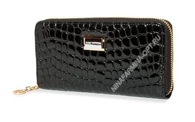 Кошелёк 9285_096 лаковая-кожа-крокодила-с-тиснением