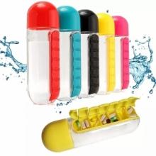 Пластиковая бутылка-органайзер для воды с отсеком для таблеток PillBox (600 мл)