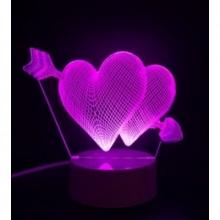 3D ночник Сердечки (3 режима) 1108
