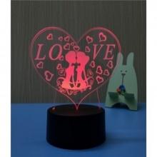 3D ночник Сердечки (3 режима) 1110