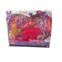 Кукла со шкафом и платьями в коробке  KK-388-6