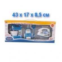 Набор пылесос, миксер и утюг на батарейках (свет, звук), в коробке  NB-3734