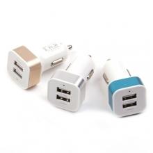 Авто зарядка 2 USB, 1A+2,1A (A8) (металлический,квадратный)  ZR-387