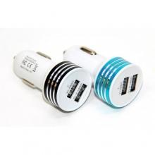 Авто зарядка 2 USB, 1A+2,1A (A8) (металлический,полосатый)  ZR-389