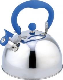 Чайник со свистком 2,5 л ( нержавеющая сталь, ручка пластик покрытый силиконом) синий, фиолетовый, красный.