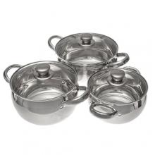 Набор посуды из 6 пр., (нержавеющая сталь, стекле),кастрюли объемом: 1,9; 3,4; 5,8 л.