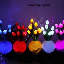 Лампа светодиодная ваза с тюльпанами