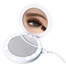 Зеркало косметическое карманное Power bank с подсветкой
