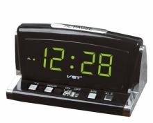 Настольные часы с будильником от сети с зеленой подсветкой VST-718-2 CH-939