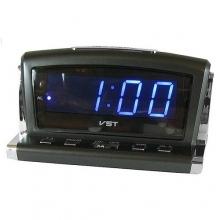 Настольные часы с будильником от сети с синей подсветкой VST-718-5 CH-941