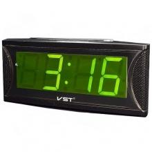 Настольные часы с будильником от сети с зеленой подсветкой VST-719-2 CH-943