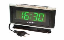 Настольные часы с будильником от сети с ярко-зеленой подсветкой VST-721-4 CH-945