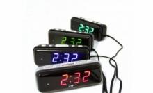 Настольные часы с будильником от сети с ярко-зеленой подсветкой VST-728-4 CH-948