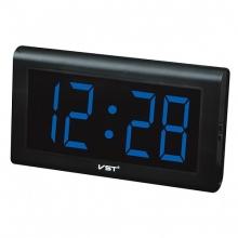 Настольные часы с будильником от сети с синией подсветкой VST-728-5 CH-949