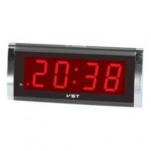 Настольные часы с будильником от сети с красной подсветкой VST-730-1 CH-950