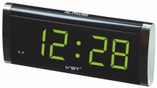 Настольные часы с будильником от сети с зеленой подсветкой VST-730-2 CH-951