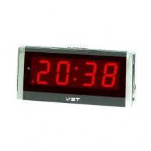 Настольные часы с будильником от сети с красной подсветкой VST-731-1 CH-953