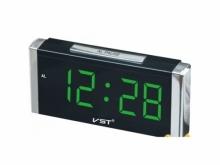 Настольные часы с будильником от сети с зеленой подсветкой VST-731-2 CH-954