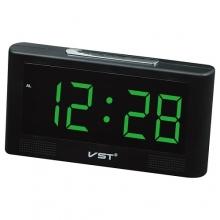 Настольные часы с будильником от сети с зеленой подсветкой VST-732-2 CH-955