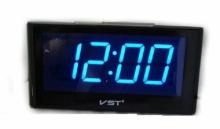 Настольные часы с будильником от сети с синей подсветкой VST-732-5 CH-956