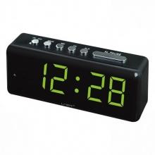Настольные часы с будильником от сети с ярко-зеленой подсветкой VST-762-4 CH-961