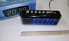 Настольные часы с будильником от сети с синей подсветкой VST-762-5 CH-962