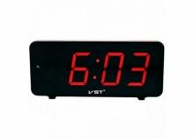 Настольные часы с будильником от сети с красной подсветкой VST-763-1 CH-963