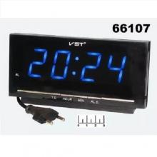 Настольные часы с будильником от сети с синей подсветкой VST-778-5 CH-968