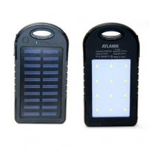 зарядка портативная Power Bank AT-D2035+2USB+фонарик+солнечная батарея 7200 mAh