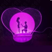 3D ночник Влюбленные (3 режима) 1109