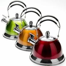 Чайник со свистком 2,7 л ( нержавеющая сталь, ручка пластик) красный, оранжевый, желтый, зеленый, синий, фиолетовый.